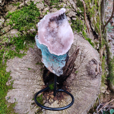 Pink Amethyst Geode Slab on Metal Stand (#8)