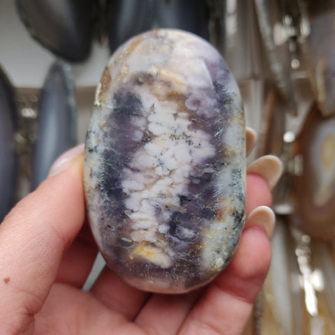 Purple Dendritic Opal Palm Stone (#18)