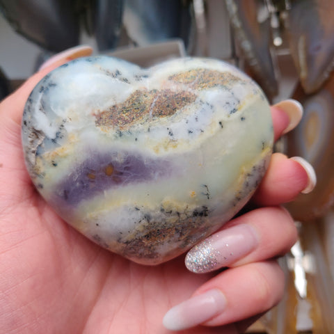 Purple Dendritic Opal Heart (#12)