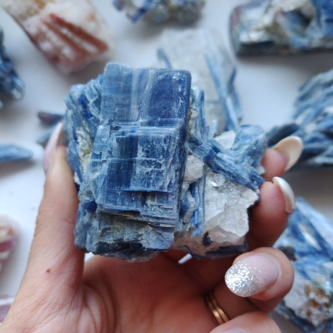Blue Kyanite with Garnet Inclusions in Quartz Specimen (#2)