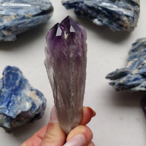 Bahia Amethyst/Smoky Quartz Point, Amethyst Elestial Wand from Brazil (#6)