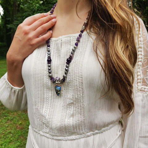 Handmade Labradorite & Amethyst Statement Necklace