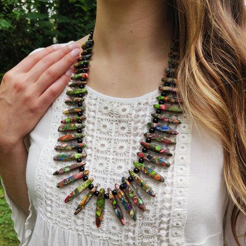 Handmade Rainbow Imperial Jasper & Black Onyx Necklace