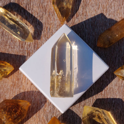 Citrine Point with Rainbow Inclusions(#14Q)