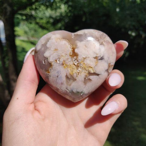 Flower Agate Heart (#5)