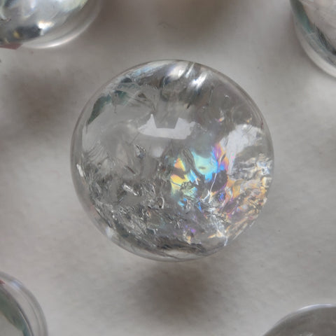 Reserved for Melanie, Clear Quartz Sphere with Rainbow Inclusions (#8)