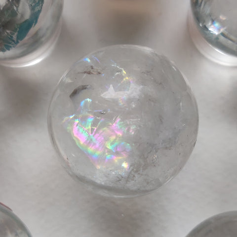 Clear Quartz Sphere with Rainbow Inclusions (#10)