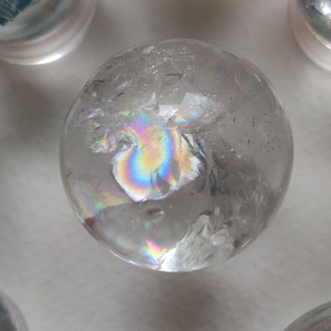 Clear Quartz Sphere with Rainbow Inclusions (#12)