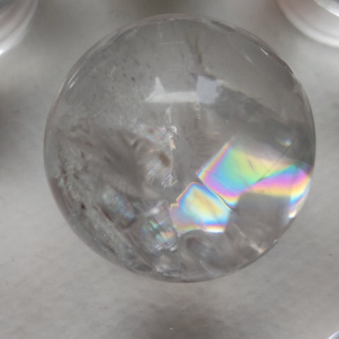 Clear Quartz Sphere with Rainbow Inclusions (#13)