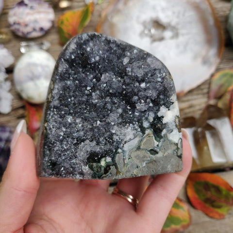Black Amethyst Geode Free Form, Polished (#1B)