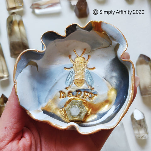 "Quartz ""Bee Happy"" Polymer Clay Honey Bee Trinket Dish"