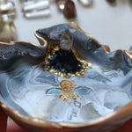 RESTOCKED - Marbled Bee Trinket Dish with Quartz