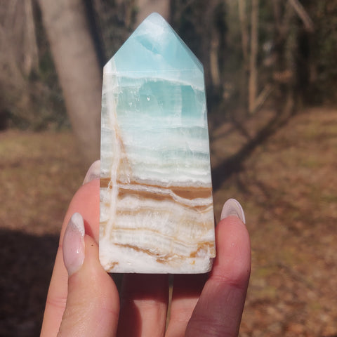 Caribbean Blue Calcite Tower (#1)