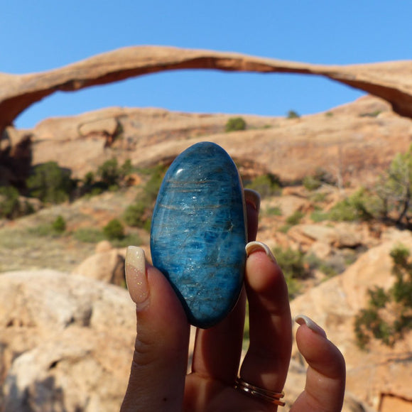 Blue Apatite Palm Stone from Simply Affinity, Photographed in Arches National Park, Moab, Utah