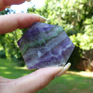 Rainbow Fluorite Slab, Purple and Green Fluorite Slab