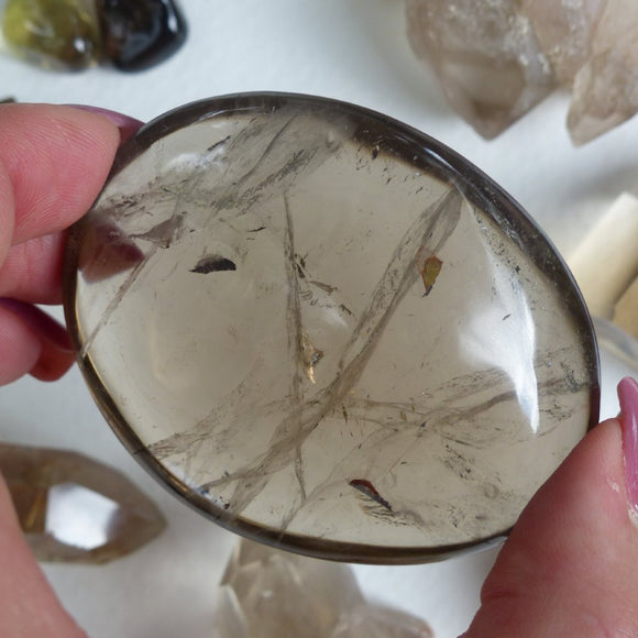 Reserved for Cindy, Smoky Quartz Palm Stone