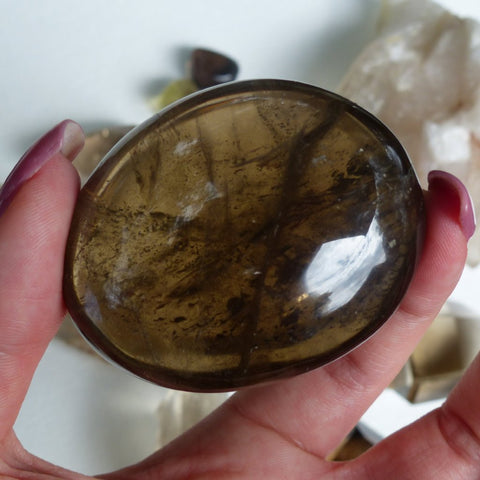 Smoky Quartz Palm Stone