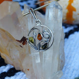 Baltic Amber Leaf Pendant in Sterling Silver