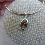 Multicolored Baltic Amber Pendant in Sterling Silver (#5)