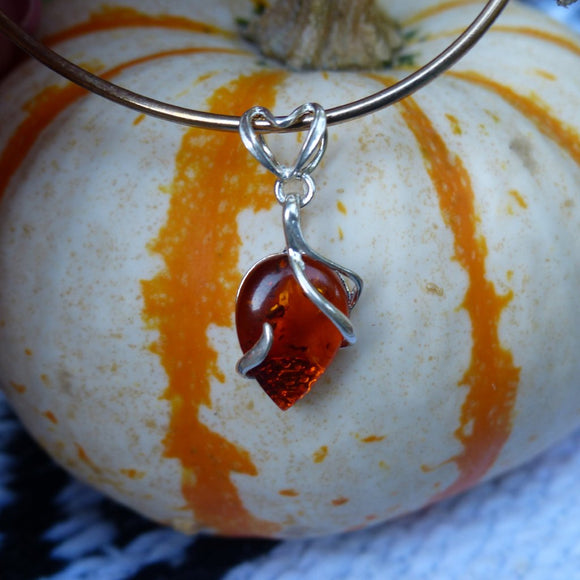 Baltic Amber Pendant in Sterling Silver (#1)