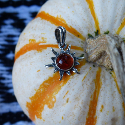 Baltic Amber Sun Pendant in Sterling Silver