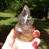 Smoky Quartz Flame with Rainbow Inclusions (#1)