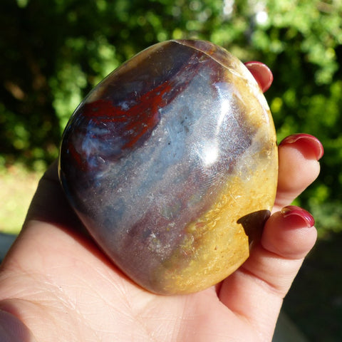 Reserved for Joanne, Violet Flame Agate Palm Stone (#7)