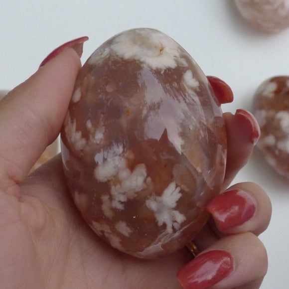 Flower Agate Palm Stone (#14)