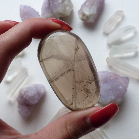 Smoky Quartz Palm Stone (#5)