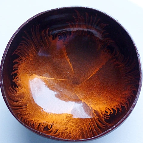 Coconut Bowl with Orange Resin Paint