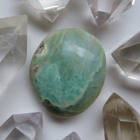 Garnierite Palm Stone with Blue Flash (#1)