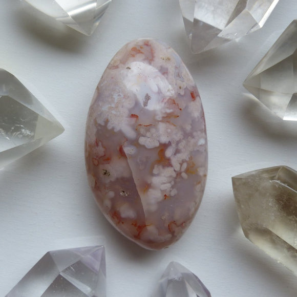 Flower Agate Palm Stone (#20)
