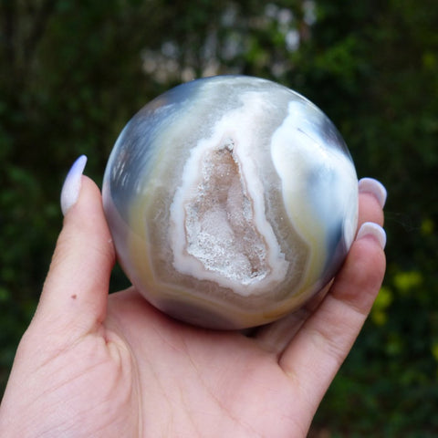 Reserved for Cindy, Agate Sphere with Druzy Inclusions (#1)