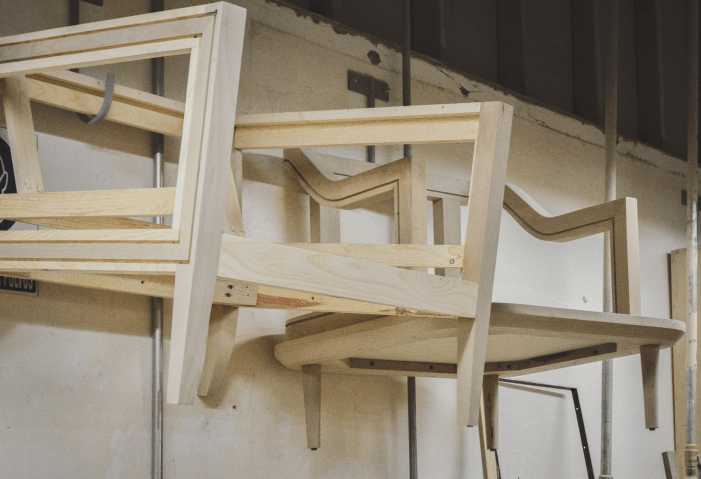 wood frames of chairs