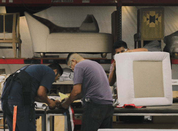 men working in the fabric