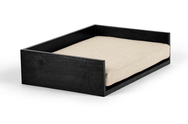 Open-Ended Pet Bed Pet Bed Cross Linen Weave Bone / Black / Medium Whom. Home