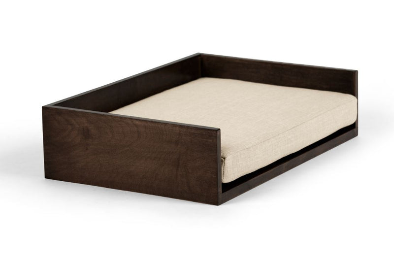Open-Ended Pet Bed Pet Bed Cross Linen Weave Bone / Chocolate / Medium Whom. Home
