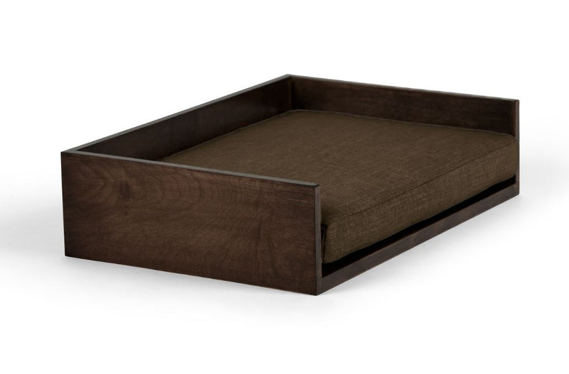 Open-Ended Pet Bed Pet Bed Cross Linen Weave Charcoal / Chocolate / Large Whom. Home