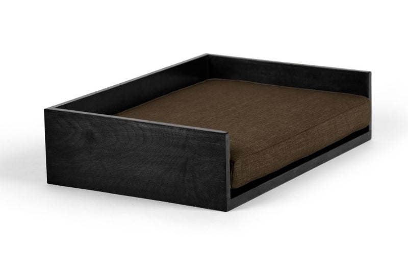 Open-Ended Pet Bed Pet Bed Cross Linen Weave Chocolate / Black / Large Whom. Home