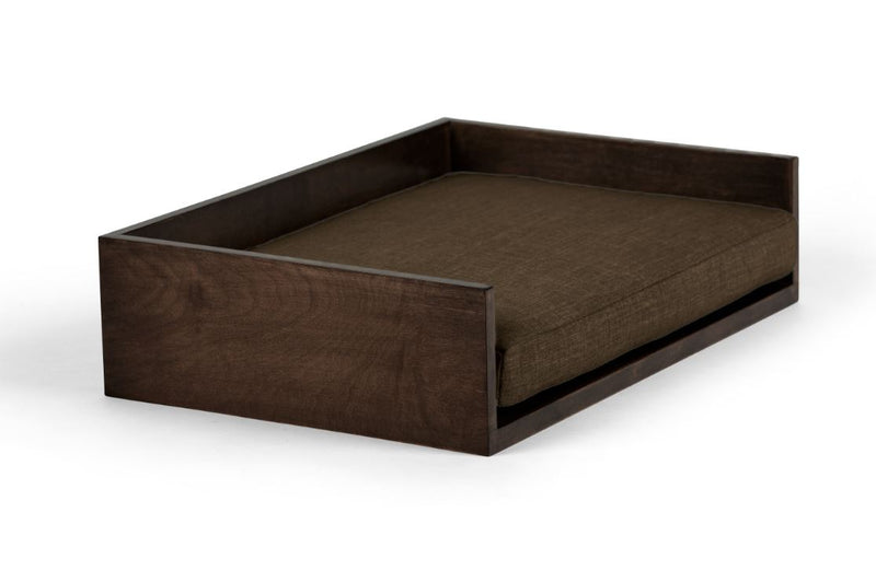 Open-Ended Pet Bed Pet Bed Cross Linen Weave Chocolate / Chocolate / Large Whom. Home
