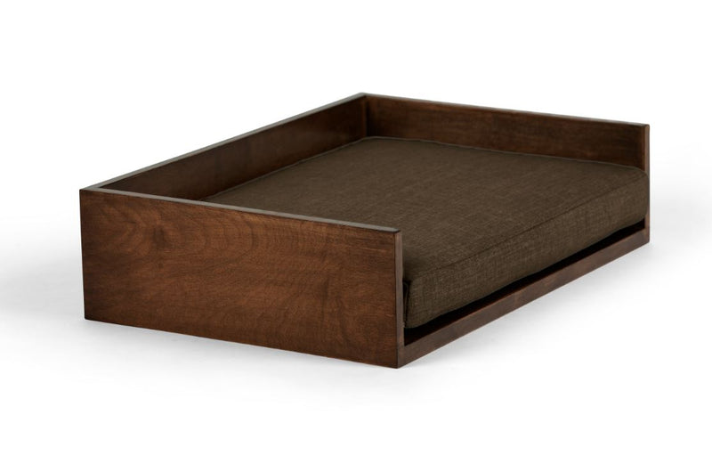 Open-Ended Pet Bed Pet Bed Cross Linen Weave Chocolate / Hazel / Small Whom. Home
