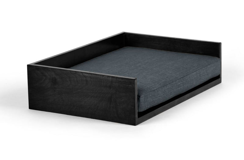 Open-Ended Pet Bed Pet Bed Cross Linen Weave Denim / Black / Small Whom. Home