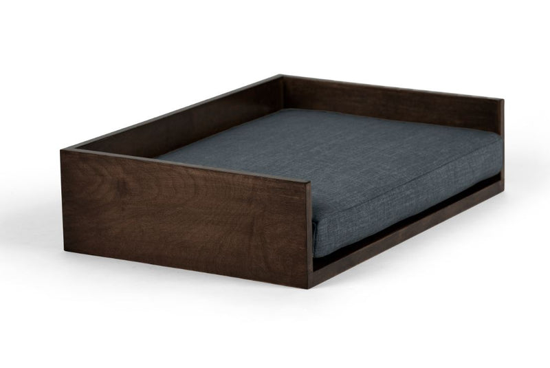 Open-Ended Pet Bed Pet Bed Cross Linen Weave Denim / Chocolate / Large Whom. Home