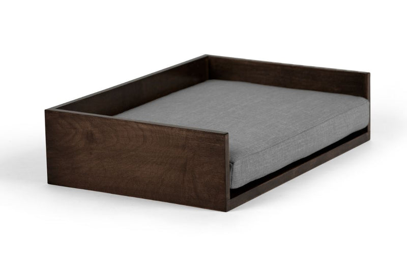 Open-Ended Pet Bed Pet Bed Cross Linen Weave Grey / Chocolate / Medium Whom. Home
