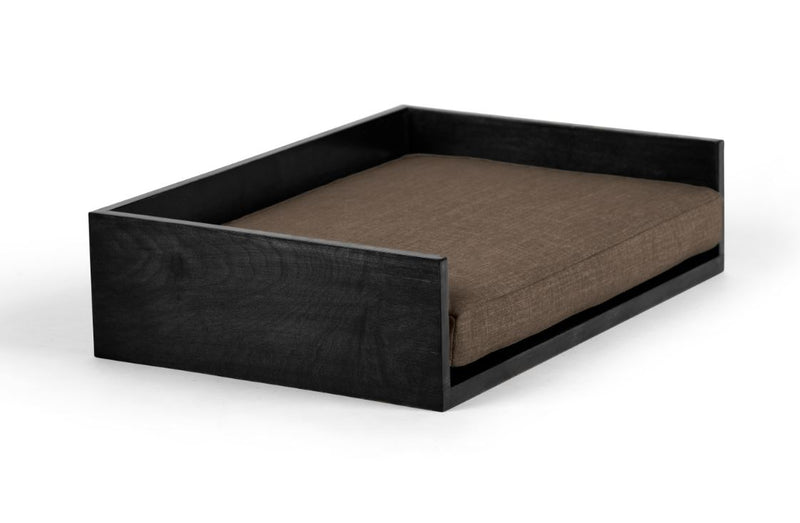 Open-Ended Pet Bed Pet Bed Cross Linen Weave Mocha / Black / Large Whom. Home