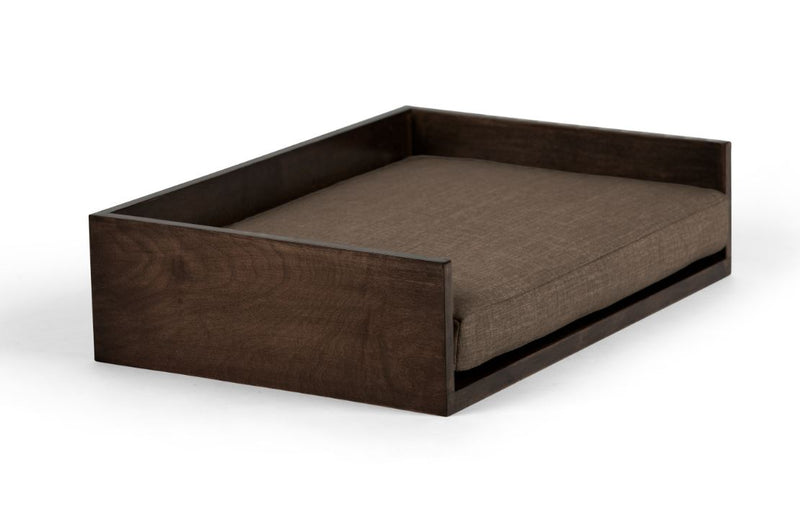Open-Ended Pet Bed Pet Bed Cross Linen Weave Mocha / Chocolate / Large Whom. Home