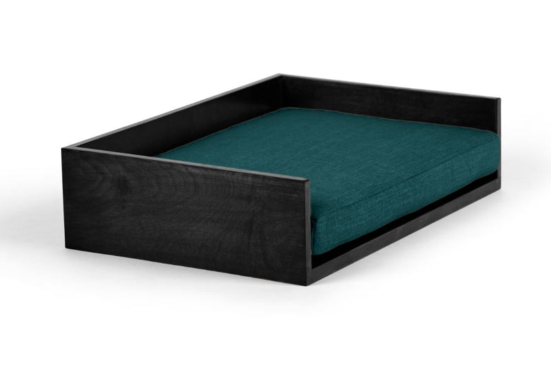 Open-Ended Pet Bed Pet Bed Cross Linen Weave Peacock / Black / Large Whom. Home