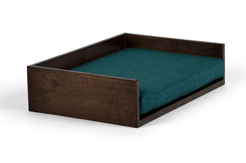 Open-Ended Pet Bed Pet Bed Cross Linen Weave Peacock / Chocolate / Large Whom. Home