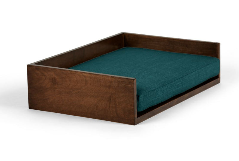 Open-Ended Pet Bed Pet Bed Cross Linen Weave Peacock / Hazel / Large Whom. Home