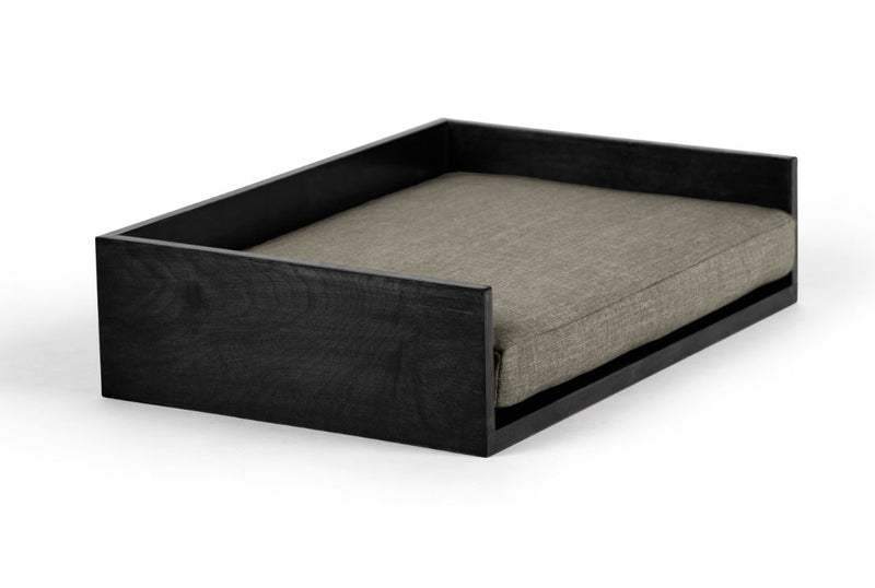 Open-Ended Pet Bed Pet Bed Cross Linen Weave Platinum / Black / Large Whom. Home